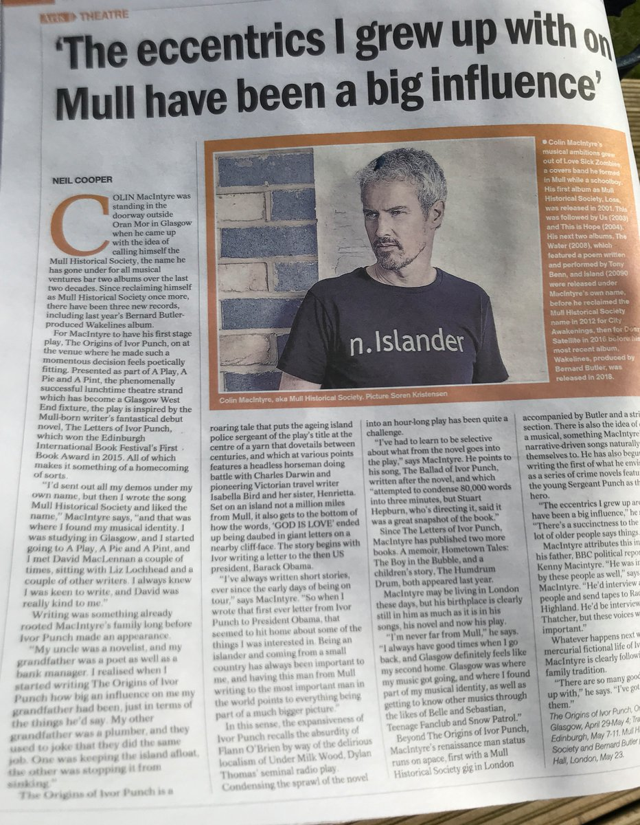 Colin talking to the Herald about his new play, headless horsemen and new plans