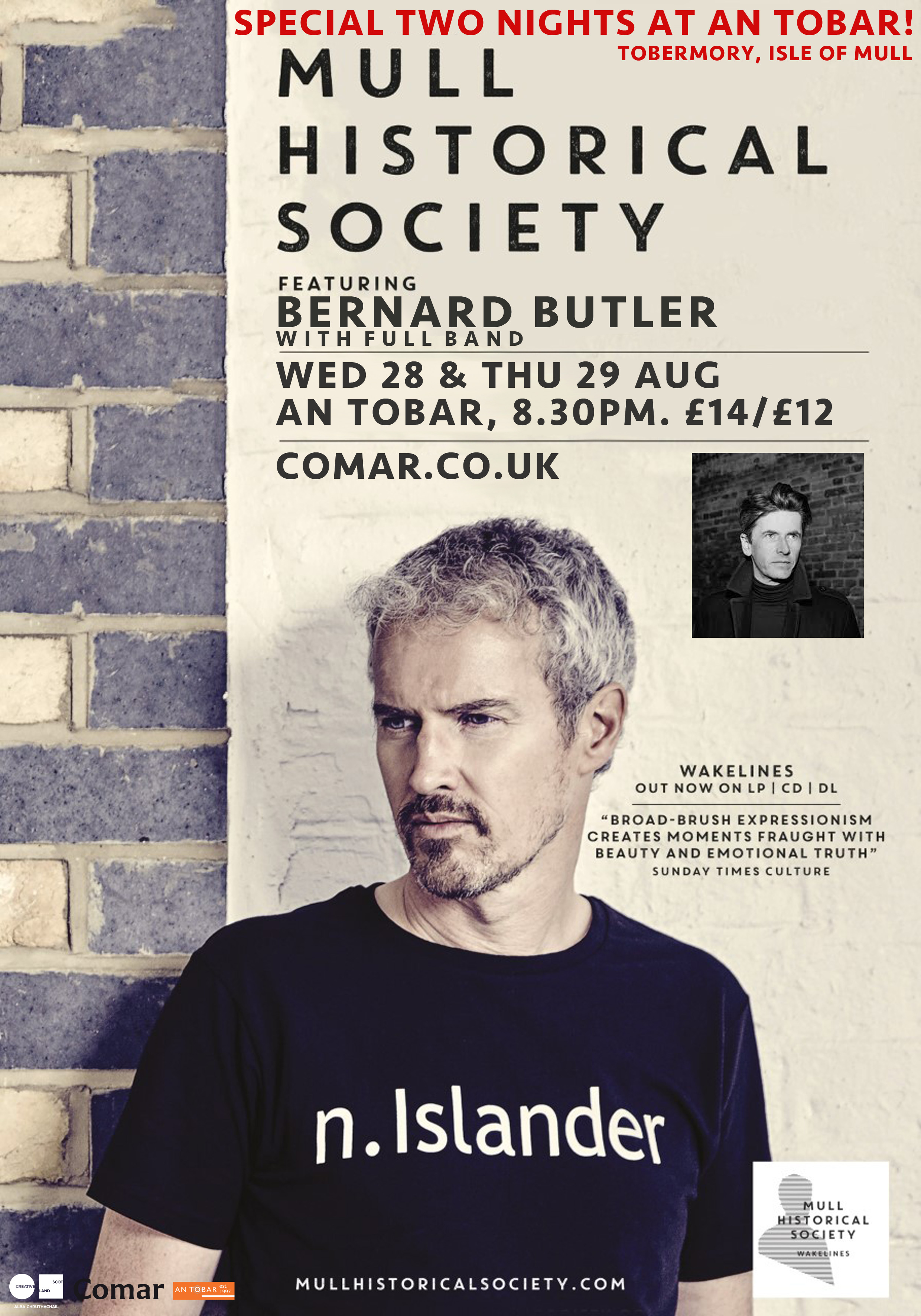 Mull Historical Society 2 special nights at An Tobar, Tobermory, Isle of Mull – with special guest Bernard Butler!